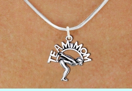 """<br>   SWIMMING NECKLACE  WHOLESALE <bR>                   EXCLUSIVELY OURS!! <BR>              AN ALLAN ROBIN DESIGN!! <BR>     CLICK HERE TO SEE 1000+ EXCITING <BR>           CHANGES THAT YOU CAN MAKE! <BR>        CADMIUM, LEAD & NICKEL FREE!! <BR>       W1482SN - DETAILED SILVER TONE <BR> """"TEAM MOM"""" SWIMMING CHARM & NECKLACE <BR>             FROM $4.85 TO $8.30 �2013"""