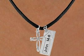 "<BR>             ""THE WAY TO THE LORD""<BR>                ""EXCLUSIVELY OURS""<bR>             AN ALLAN ROBIN DESIGN<Br>                LEAD & NICKEL FREE!!<Br>W14272N - DOUBLE-SIDED JOHN 14:6<br>    & CROSS BLACK SUEDE NECKLACE<br>               FROM $6.19 TO $13.75"