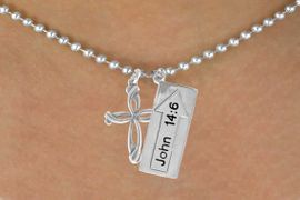 """<BR>             """"THE WAY TO THE LORD""""<BR>                """"EXCLUSIVELY OURS""""<bR>             AN ALLAN ROBIN DESIGN<Br>                LEAD & NICKEL FREE!!<Br>W14273N - DOUBLE-SIDED JOHN 14:6<br>    & CROSS BALL CHAIN NECKLACE<br>               FROM $6.19 TO $13.75"""