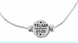 <BR><B>Trump 2020 Adjustable Silver-Tone Charm Necklace,</B><BR> 18 Inch - 21 Inch Snake Chain With Attached Extender.<BR>Hypoallergenic-Safe.No Nickel, No Lead, No Poisonous Cadmium Free.<BR> W196N2  $7.99 Each  �2020