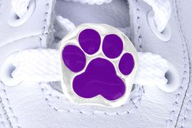 <Br>           US PATENT PENDING<Br>           EXCLUSIVELY OURS!!<Br>      AN ALLAN ROBIN DESIGN!<BR>          LEAD & NICKEL FREE!!<Br>W13270C - PURPLE PAW PRINT<Br>     2-PIECE SHOE CHARM SET<Br>                AS LOW AS $3.10