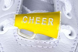 """<Br>        US PATENT PENDING<Br>        EXCLUSIVELY OURS!!<BR>   AN ALLAN ROBIN DESIGN!<BR>       LEAD & NICKEL FREE!!<Br>W13280C - YELLOW """"CHEER""""<Br> 2-PIECE MEGAPHONE SHOE<br>    CHARM AS LOW AS $3.10"""