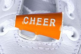 """<Br>        US PATENT PENDING<Br>        EXCLUSIVELY OURS!!<BR>   AN ALLAN ROBIN DESIGN!<BR>       LEAD & NICKEL FREE!!<Br>W13282C - ORANGE """"CHEER""""<Br> 2-PIECE MEGAPHONE SHOE<br>    CHARM AS LOW AS $3.10"""