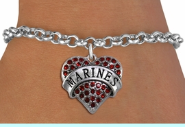 """<BR>  USMC BRACELET WHOLESALE<bR>                EXCLUSIVELY OURS!! <Br>           AN ALLAN ROBIN DESIGN!! <BR>  CLICK HERE TO SEE 1000+ EXCITING <BR>        CHANGES THAT YOU CAN MAKE! <BR>     LEAD, NICKEL & CADMIUM FREE!! <BR>  W1478SB - SILVER TONE """"MARINES"""" <BR> RED CRYSTAL HEART CHARM & BRACELET <BR>         FROM $5.40 TO $9.85 �2013"""