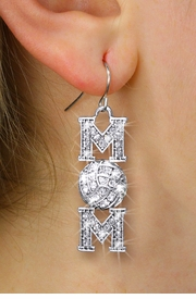 "<BR>       VOLLEYBALL MOM EARRINGS <bR>                EXCLUSIVELY OURS!! <Br>           AN ALLAN ROBIN DESIGN!! <BR>     LEAD, NICKEL & CADMIUM FREE!! <BR> W1472SE - SILVER TONE VOLLEYBALL ""MOM"" <BR>      CLEAR CRYSTAL CHARM EARRINGS <BR>        FROM $5.40 TO $10.45 �2013"