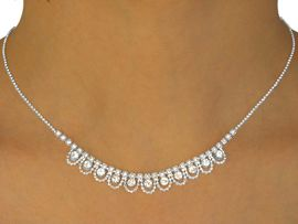 W10026NE - SILVER TONE BALL CHAIN<BR>     & GENUINE AUSTRIAN CRYSTAL<br>          NECKLACE & EARRING SET<br>    YOUR LOW PRICE IS ONLY $7.31