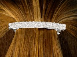 <bR>  W10088HJ - GENUINE AUSTRIAN<Br>CRYSTAL DOUBLE-ROW HAIR CLIP<bR>              FROM $2.81 TO $6.25
