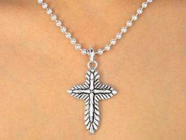W10217N - DARK SILVER FINISH<Br>BALL CHAIN & CROSS PENDANT<Br> NECKLACE FROM $5.60 TO $10.00