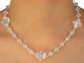 W10309NE - CRYSTAL CLEAR FACETED<Br>   BEADED NECKLACE & EARRING SET<br>                      AS LOW AS $2.05