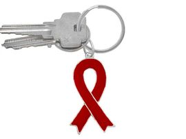 W10430KC - RED AWARENESS RIBBON <BR>    KEY CHAIN&#169;2007 AS LOW AS $1.99<br>EXCLUSIVLEY OURS! WE ARE THE ONLY<BR>  MANUFACTURER OF THIS KEY CHAIN!<BR>                         �2005