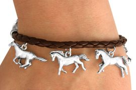 W10638B - BROWN ROPE-LIKE MULTI<br>     HORSE CHARM TOGGLE BRACELET<Br>                  FROM $6.19 TO $13.75