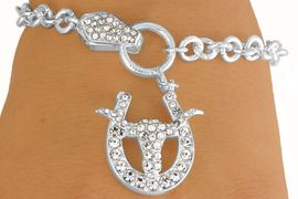 W10687B - GENUINE AUSTRIAN CRYSTAL<br>    HORSESHOE & LONGHORN BRACELET<br>                    FROM $5.63 TO $12.50