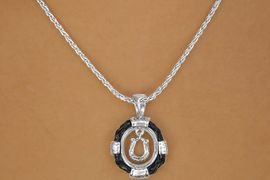 W10726NE - BLACK ROPE-LIKE TRIM<br>    RING & MINI HORSESHOE CHARM<br>           NECKLACE & EARRING SET<BR>                     AS LOW AS $6.50