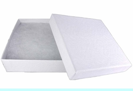"""W10734JB - WHITE 3 5/8""""<Br>   SQUARE JEWELRY BOX<Br> YOUR LOW PRICE IS $.93"""