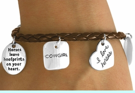 """W10821B - BROWN """"I LOVE HORSES""""<Br>    COWGIRL MULTI CHARM TOGGLE<br>          BRACELET AS LOW AS $4.90"""