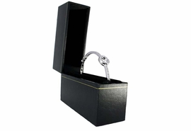 W10863JB - SMOOTH BLACK & GOLD COLOR<br>  TRIM JEWELRY GIFT BOX AS LOW AS $2.20