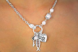 "<BR>      W11234NE - SILVER TONE ""JESUS""<Br>MULTI CHARM & FAUX PEARL NECKLACE<br> & EARRING SET FROM $5.90 TO $12.50"