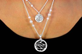 "W11235NE - ""LOVE, HOPE, FAITH"" &<bR>            ""SERENITY"" FAUX PEARL<br>         ACCENTED DOUBLE-CHAIN<Br>         NECKLACE & EARRING SET<br>            FROM $6.90 TO $12.50"