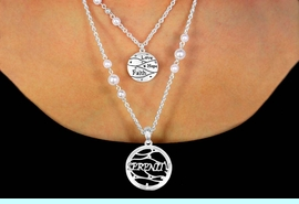"""W11235NE - """"LOVE, HOPE, FAITH"""" &<bR>            """"SERENITY"""" FAUX PEARL<br>         ACCENTED DOUBLE-CHAIN<Br>         NECKLACE & EARRING SET<br>            FROM $6.90 TO $12.50"""