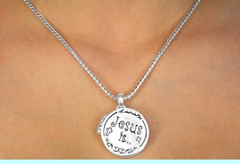 """W11236N - """"JESUS IS THE WAY...<br>  ...TO HEAVEN"""" ROUND LOCKET<br> NECKLACE FROM $5.90 TO $12.50"""