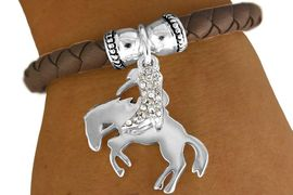 """W11243B - """"BREAKING IN THE BRONCO""""<Br>   & AUSTRIAN CRYSTAL COWBOY BOOT<Br>   STRETCH BRACELET AS LOW AS $4.40"""