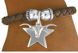 W11244B - AUSTRIAN CRYSTAL LONGHORN<br>       & STAR CHARM STRETCH BRACELET<br>                           AS LOW AS $3.05