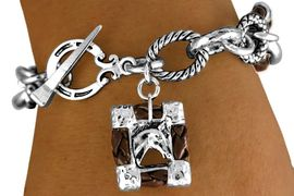 """<br>   W11288B - BROWN """"ROPE"""" RINGLETS &<BR>FRAMED """"HORSE PICTURE"""" CHARM TOGGLE<br>                 BRACELET AS LOW AS $4.85"""