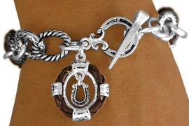 """W11289B - BROWN """"ROPE"""" RINGLETS &<BR>HORSESHOE CHARM TOGGLE  BRACELET<BR>                           AS LOW AS $4.85"""