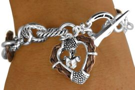 """W11290B - BROWN """"ROPE"""" RINGLETS &<BR>    FRAMED HEART WITH HORSE CHARM<br>    TOGGLE BRACELET AS LOW AS $4.85"""