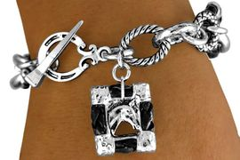 """<br>     W11292B - BLACK """"ROPE"""" RINGLETS &<BR>FRAMED """"HORSE PICTURE"""" CHARM TOGGLE<br>                 BRACELET AS LOW AS $4.85"""