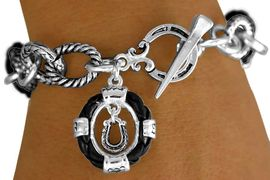"""<bR> W11293B - BLACK """"ROPE"""" RINGLETS &<BR>HORSESHOE CHARM TOGGLE  BRACELET<BR>                           AS LOW AS $4.85"""