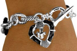 """W11294B - BLACK """"ROPE"""" RINGLETS &<BR>   FRAMED HEART WITH HORSE CHARM<br>   TOGGLE BRACELET AS LOW AS $4.85"""