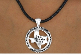 "<bR>      W11518NE - BLACK ROPE-LIKE CORD<BR>""DON'T MESS WITH TEXAS"" RING & STATE<br>                  NECKLACE & EARRING SET<br>                            AS LOW AS $3.05"