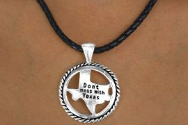 """<bR>      W11518NE - BLACK ROPE-LIKE CORD<BR>""""DON'T MESS WITH TEXAS"""" RING & STATE<br>                  NECKLACE & EARRING SET<br>                            AS LOW AS $3.05"""