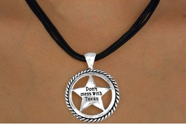 "<br> W11520NE - BLACK MULTI CORD<Br>""DON'T MESS WITH TEXAS"" STAR<Br>        NECKLACE & EARRING SET<br>                  AS LOW AS $3.05"