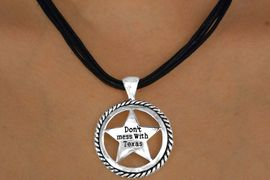 """<br> W11520NE - BLACK MULTI CORD<Br>""""DON'T MESS WITH TEXAS"""" STAR<Br>        NECKLACE & EARRING SET<br>                  AS LOW AS $3.05"""