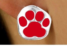 <bR>    W11562E - SILVER TONE RED PAW<Br>PIERCED EARRINGS FROM $3.75 TO $6.25