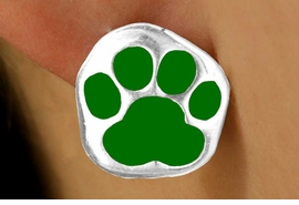 <bR> W11563E - SILVER TONE GREEN PAW<Br>PIERCED EARRINGS FROM $3.75 TO $6.25