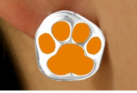 <bR>W11564E - SILVER TONE ORANGE PAW<Br>PIERCED EARRINGS FROM $3.75 TO $6.25