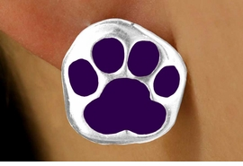 W11565E - SILVER TONE PURPLE PAW<Br>PIERCED EARRINGS FROM $3.75 TO $6.25