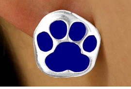 <bR>  W11567E - SILVER TONE BLUE PAW<Br>PIERCED EARRINGS FROM $3.75 TO $6.25