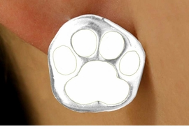 <br> W11568E - SILVER TONE WHITE PAW<Br>PIERCED EARRINGS FROM $3.75 TO $6.25
