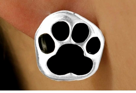 W11569E - SILVER TONE BLACK PAW<Br>PIERCED EARRINGS FROM $3.75 TO $6.25
