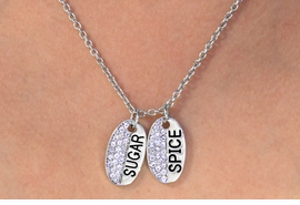 "W11579N - AUSTRIAN CRYSTAL ACCENTED<br>""SUGAR"" & ""SPICE"" DOUBLE OVAL DROP<Br>               NECKLACE AS LOW AS $4.60"