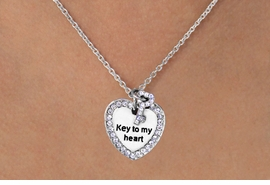 "<BR>  W11580N - ""KEY TO MY HEART""<Br>AUSTRIAN CRYSTAL HEART & KEY<Br>     NECKLACE AS LOW AS $5.65"