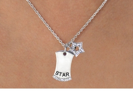 "<Br>    W11581N - AUSTRIAN CRYSTAL ""STAR""<BR>TAG & MINIATURE STAR CHARM NECKLACE<Br>                            AS LOW AS $4.60"