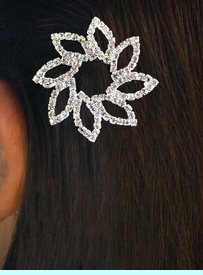 <BR>     W11701HJ - GENUINE AUSTRIAN<Br>   CRYSTAL BARRETTE FLOWER HAIR<BR>JEWELRY CLIP FROM $5.63 TO $12.50