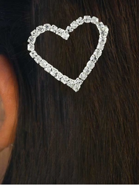 W11702HJ - GENUINE AUSTRIAN CRYSTAL<br>BARRETTE  HOLLOW CENTER HEART HAIR<bR>     CLIP JEWELRY FROM $2.25 TO $5.00