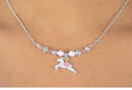 W11982NE - CHILDREN'S LEAD<Br> & NICKEL FREE WHITE HORSE<Br>    NECKLACE & EARRING SET<Br>             AS LOW AS $4.60