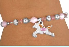 <bR>      W11989B - CHILDREN'S LEAD<Br>       & NICKEL FREE PINK BEADED<Br>HORSE CHARM STRETCH BRACELET<Br>                   AS LOW AS $3.60